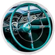 Round Beach Towel featuring the photograph 1955 Chevrolet Bel Air by M G Whittingham