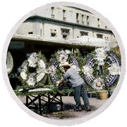 Round Beach Towel featuring the photograph 1950s Mexico City Funeral Wreaths by Marilyn Hunt