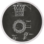 Round Beach Towel featuring the digital art 1951 Basketball Net Patent Artwork - Gray by Nikki Marie Smith