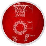 Round Beach Towel featuring the digital art 1951 Basketball Net Patent Artwork - Red by Nikki Marie Smith
