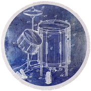 1951 Drum Kit Patent Blue Round Beach Towel