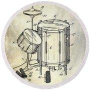 1951 Drum Kit Patent  Round Beach Towel by Jon Neidert