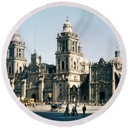 Round Beach Towel featuring the photograph 1951 Metropolitan Cathedral Mexico City by Marilyn Hunt