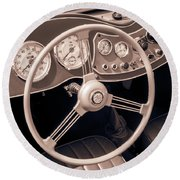 1951 Mg Td Midget Dashboard And Steering Wheel Round Beach Towel