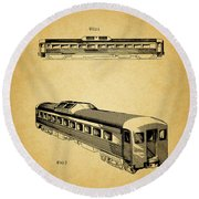 1951 Railway Car Patent Round Beach Towel by Dan Sproul
