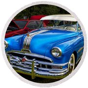 1952 Blue Pontiac Catalina Chiefton Classic Car Round Beach Towel by Betty Denise