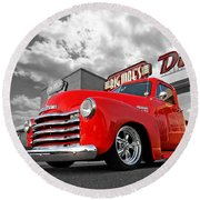 1952 Chevrolet Truck At The Diner Round Beach Towel by Gill Billington