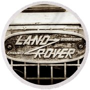 1952 Land Rover 80 Grille  Emblem -0988s2 Round Beach Towel