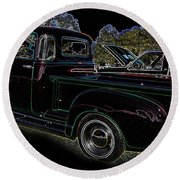 Round Beach Towel featuring the photograph 1952 Neon Chevrolet Pickup by Geraldine DeBoer