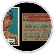 1952 Topps Mickey Mantle Rookie Card Round Beach Towel by Art Kurgin