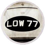 1952 Torero Mg Barchetta Sports Racer Hood Emblem -0448s Round Beach Towel