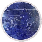 1953 Helicopter Patent Blue Round Beach Towel