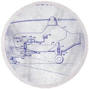1953 Helicopter Patent Blueprint Round Beach Towel