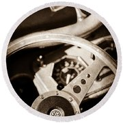 1954 Mg Tf Steering Wheel Emblem -0920s Round Beach Towel