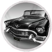 1955 Cadillac Black And White Round Beach Towel by Gill Billington