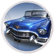 1955 Cadillac Blue Round Beach Towel by Gill Billington