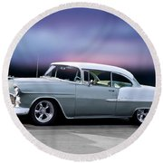 1955 Chevrolet Bel Air Hardtop I Round Beach Towel