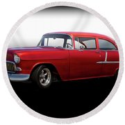 1955 Chevrolet 'candy Apple' Coupe Round Beach Towel