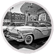 1955 Fairlane Crown Victoria Bw Round Beach Towel