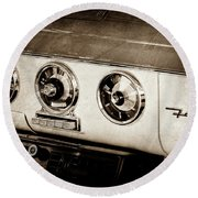 Round Beach Towel featuring the photograph 1955 Ford Fairlane Dashboard Emblem -0444s by Jill Reger