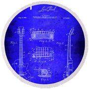 1955 Gibson Les Paul Guitar Blueprint Patent Round Beach Towel