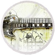 1955 Les Paul Custom Black Beauty  Round Beach Towel