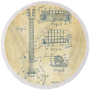 1955 Mccarty Gibson Les Paul Guitar Patent Artwork Vintage Round Beach Towel by Nikki Marie Smith