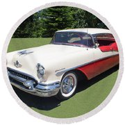 1955 Oldsmobile Super 88 Holiday Round Beach Towel