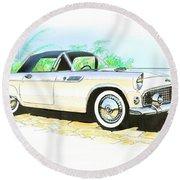1955 Thunderbird Painting Round Beach Towel