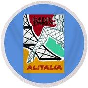 1956 Alitalia Paris Travel Poster Round Beach Towel