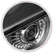1956 Cadillac Eldorado Wheel Black And White Round Beach Towel