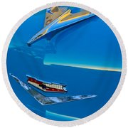 1956 Chevrolet Hood Ornament 4 Round Beach Towel