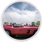 Round Beach Towel featuring the photograph 1956 Ferrari 290mm by Randy Scherkenbach