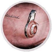 Round Beach Towel featuring the photograph 1956 Ford Thunderbird Convertible Taillight Emblem -0361ac by Jill Reger