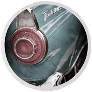 Round Beach Towel featuring the photograph 1956 Ford Thunderbird Taillight Emblem -0382ac by Jill Reger