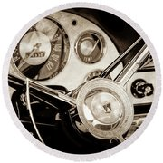 Round Beach Towel featuring the photograph 1956 Ford Victoria Steering Wheel -0461s by Jill Reger
