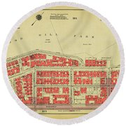 Round Beach Towel featuring the photograph 1956 Inwood Map  by Cole Thompson