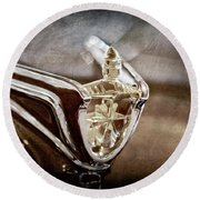 Round Beach Towel featuring the photograph 1956 Lincoln Premiere Convertible Hood Ornament -2797ac by Jill Reger
