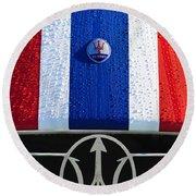 Round Beach Towel featuring the photograph 1956 Maserati 350 S Hood Ornament Emblem 3 by Jill Reger