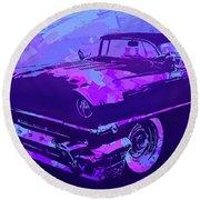 1956 Mercury Hardtop Custom Pop Violet Round Beach Towel