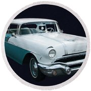 1956 Pontiac Star Chief Digital Oil Round Beach Towel