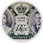 1956 Princess Grace Of Monaco Stamp II Round Beach Towel by Bill Owen