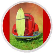 1957 Beetle Oval Round Beach Towel by Marion Johnson