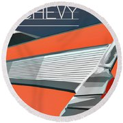 1957 Chevy Art Design By John Foster Dyess Round Beach Towel