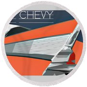 Round Beach Towel featuring the digital art 1957 Chevy Art Design By John Foster Dyess by John Dyess
