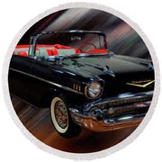 1957 Chevy Bel Air Convertible Digital Oil Round Beach Towel