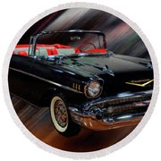 1957 Chevy Bel Air Convertible Digital Oil Round Beach Towel