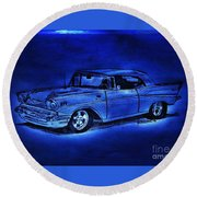 1957 Chevy Bel Air - Moonlight Cruisin  Round Beach Towel