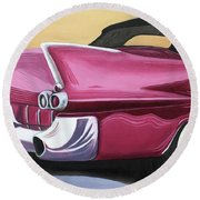1957 Eldorado-red Round Beach Towel