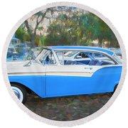 1957 Ford 2 Door Fairlane C130 Round Beach Towel